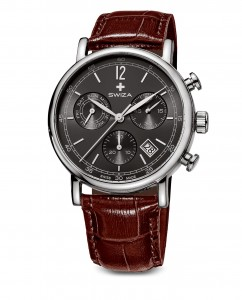 Zegarek SWIZA Alza Chrono SST anthracite-brown WAT.0153.1003